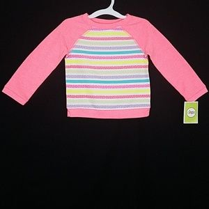 Long Sleeve Pullover Neon Pink Strips Sweater